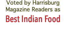 Voted by Harrisburg Magazine Readers as Best Indian Food